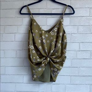 Honey Punch Green Floral Silky Tank